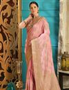 image of Designer Party Style Pink Embroidered Saree In Art Silk