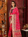 image of Art Silk Designer Party Style Rani Color Embroidered Saree