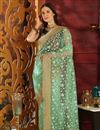 image of Sea Green Fancy Fabric Designer Party Style Embroidered Saree