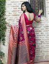 photo of Art Silk Fabric Festive Wear Rani Color Patola Weaving Work Saree