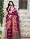 image of Art Silk Fabric Festive Wear Rani Color Patola Weaving Work Saree