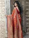 photo of Art Silk Fabric Festive Wear Patola Weaving Work Saree In Orange Color