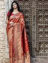 image of Art Silk Fabric Festive Wear Patola Weaving Work Saree In Orange Color