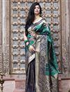 image of Festive Wear Cyan Color Art Silk Fabric Patola Weaving Work Saree