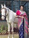image of Navy Blue Color Festive Wear Art Silk Patola Style Weaving Work Saree