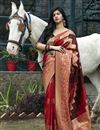 image of Festive Wear Red Color Art Silk Patola Style Weaving Work Saree