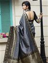 photo of Festive Wear Art Silk Patola Style Weaving Work Saree In Grey Color