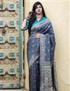 image of Puja Wear Grey Color Trendy Art Silk Patola Weaving Work Saree