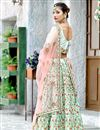 photo of Art Silk Fabric Cyan Fancy Embroidery Work Reception Wear 3 Piece Lehenga Choli
