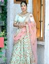image of Art Silk Fabric Cyan Fancy Embroidery Work Reception Wear 3 Piece Lehenga Choli