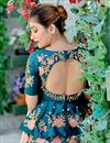 photo of Teal Satin Silk Fabric Embroidery Work Wedding Wear Lehenga
