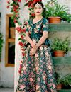 image of Satin Silk Fabric Party Wear Lehenga In Teal With Embroidery Work With Designer Blouse