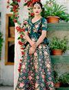 image of Teal Satin Silk Fabric Embroidery Work Wedding Wear Lehenga