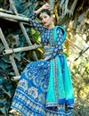 photo of Art Silk Fabric Sky Blue Fancy Embroidery Work Reception Wear 3 Piece Lehenga Choli