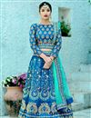 image of Art Silk Fabric Sky Blue Fancy Embroidery Work Reception Wear 3 Piece Lehenga Choli