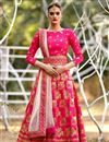 image of Embroidery Work On Rani Art Silk Fabric Function Wear Lehenga With Party Wear Blouse