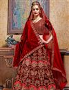 image of Maroon Embroidered Velvet Fabric Party Wear Lehenga With Alluring Blouse