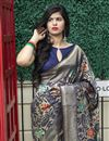 photo of Art Silk Fabric Function Wear Navy Blue Color Weaving Work Saree