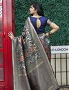 picture of Art Silk Fabric Function Wear Navy Blue Color Weaving Work Saree