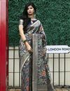 image of Art Silk Fabric Function Wear Navy Blue Color Weaving Work Saree