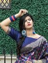 photo of Art Silk Fabric Festive Wear Navy Blue Color Weaving Work Saree