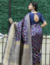 picture of Art Silk Fabric Festive Wear Navy Blue Color Weaving Work Saree