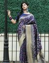 image of Art Silk Fabric Festive Wear Navy Blue Color Weaving Work Saree
