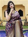 photo of Festive Wear Purple Color Art Silk Fabric Weaving Work Saree