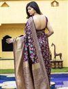 picture of Festive Wear Purple Color Art Silk Fabric Weaving Work Saree