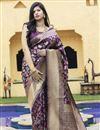image of Festive Wear Purple Color Art Silk Fabric Weaving Work Saree