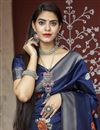 photo of Party Wear Art Silk Fabric Weaving Work Saree In Navy Blue Color