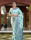 image of Art Silk Fabric Sea Green Color Saree For Wedding Function