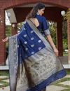 picture of Art Silk Fabric Festive Wear Weaving Work Saree In Navy Blue Color