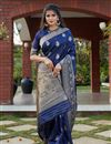 image of Art Silk Fabric Festive Wear Weaving Work Saree In Navy Blue Color