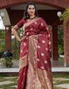 image of Art Silk Fabric Party Wear Maroon Color Weaving Work Saree