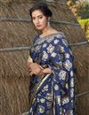 photo of Art Silk Fabric Navy Blue Color Designer Foil Printed Saree