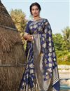 image of Art Silk Fabric Navy Blue Color Designer Foil Printed Saree
