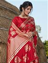 photo of Designer Art Silk Fabric Red Color Party Wear Foil Printed Saree