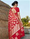 picture of Designer Art Silk Fabric Red Color Party Wear Foil Printed Saree