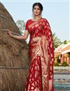 image of Designer Art Silk Fabric Red Color Party Wear Foil Printed Saree