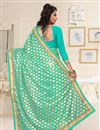 photo of Designer Party Wear Cyan Color Saree In Georgette Fabric