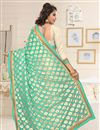photo of Cream And Cyan Color Embroidered Designer Saree In Georgette Fabric