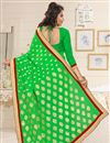 photo of Georgette Fabric Party Wear Designer Saree In Green Color