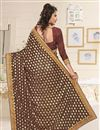 photo of Brown And Yellow Color Party Wear Designer Saree In Lycra Fabric