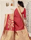 photo of Traditional Banarasi Silk Red Saree With Jacquard Work