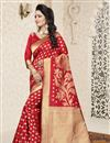image of Jacquard Work Banarasi Silk Traditional Saree In Red