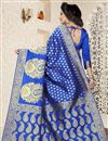 photo of Jacquard Work Function Wear Blue Saree In Banarasi Silk