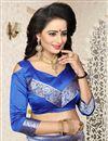 picture of Jacquard Work Function Wear Blue Saree In Banarasi Silk