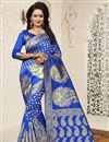 image of Jacquard Work Fancy Banarasi Silk Traditional Blue Saree