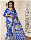 image of Jacquard Work Function Wear Blue Saree In Banarasi Silk